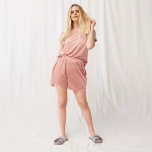 OHS Velour Pocket Casual Shorts - Blush