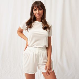 OHS Velour Pocket Casual Shorts - Cream