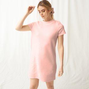 OHS Super Soft Brushed Rib T-Shirt Dress - Blush