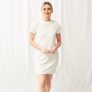OHS Super Soft Brushed Rib T-Shirt Dress - Cream
