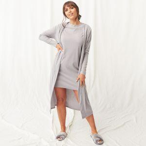 OHS Super Soft Brushed Rib T-Shirt Dress - Grey