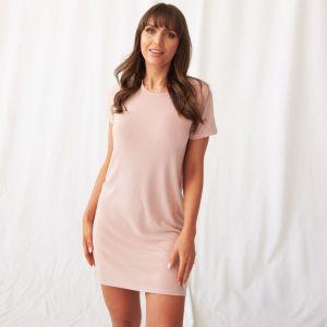OHS Basic Short Sleeve T-Shirt Dress - Blush