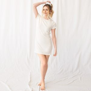 OHS Basic Short Sleeve T-Shirt Dress - Cream