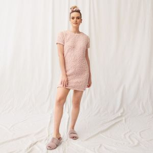 OHS Teddy Borg Short Sleeve T-Shirt Dress - Blush