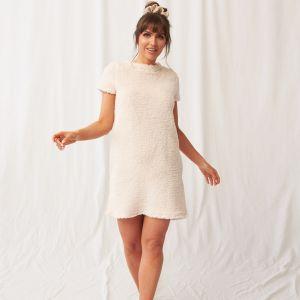 OHS Teddy Borg Short Sleeve T-Shirt Dress - Cream