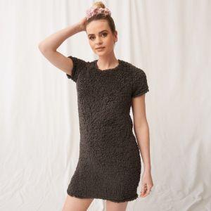 OHS Teddy Borg Short Sleeve T-Shirt Dress - Grey