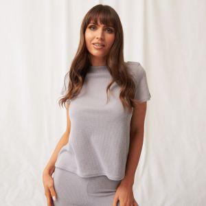 OHS Brushed Rib Short Sleeve T-Shirt - Grey