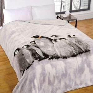Dreamscene Faux Fur Mink Throw - Penguin Family - 150x200cm