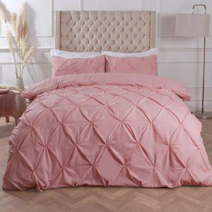 Highams Diamond Pintuck Pinch Pleat Duvet Cover Set - Blush Pink