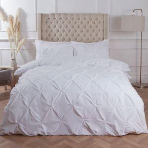 Highams Diamond Pintuck Pinch Pleat Duvet Cover Set, White