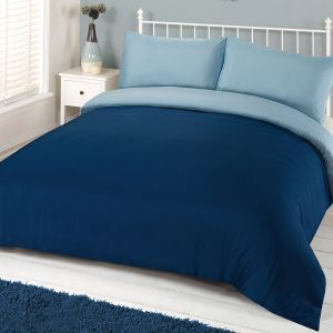 Brentfords Plain Duvet Cover Set - Navy Blue