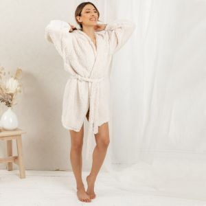 OHS Fluffy Teddy Hooded Dressing Gown - Cream