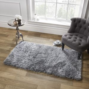 Large Shaggy Soft Floor Rug - Silver