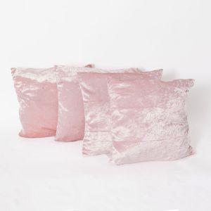Sienna Crushed Velvet Set of 4 Cushion Covers - Blush