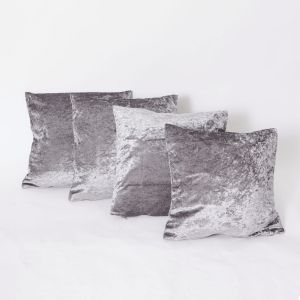 Sienna Crushed Velvet Set of 4 Cushion Covers - Silver