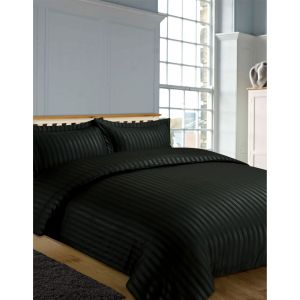 Hotel Stripe 4 Pc Complete Set with Sheet - Black