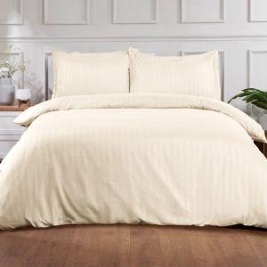 Brentfords Satin Stripe Duvet Cover Set - Cream