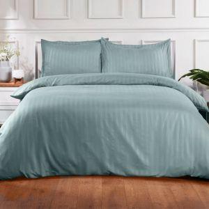 Brentfords Satin Stripe Duvet Cover Set - Duck Egg Blue