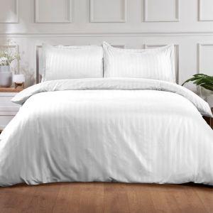 Brentfords Satin Stripe Duvet Cover Set - White