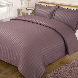 Brentfords Satin Stripe Duvet Cover Set - Mauve
