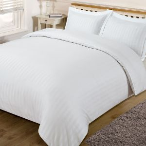 Brentfords Satin Stripe Duvet Cover Set - White