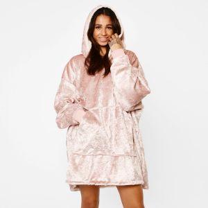 Sienna Crushed Velvet Hoodie Blanket - Blush Pink