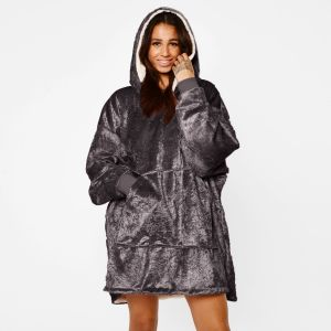 Sienna Crushed Velvet Hoodie Blanket - Charcoal Grey