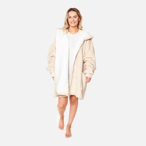 Sienna Sherpa  Zip Up Hoodie Blanket, Natural - One Size