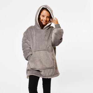 Sienna Hoodie Blanket Sherpa, Kids - Charcoal
