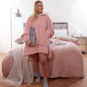 Sienna Supersoft Hoodie Blanket, One Size - Blush Pink