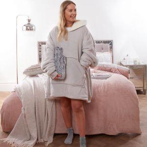 Sienna Supersoft Hoodie Blanket, One Size - Silver Grey