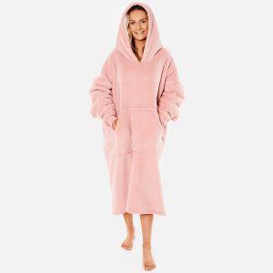 Sienna Extra-Long Sherpa Hoodie Blanket, Blush Pink