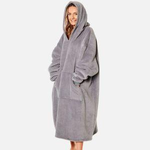 Sienna Extra-Long Sherpa Hoodie Blanket, Charcoal