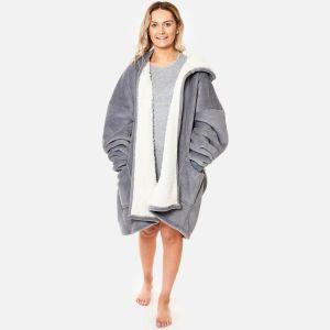 Sienna Sherpa  Zip Up Hoodie Blanket, Charcoal - One Size