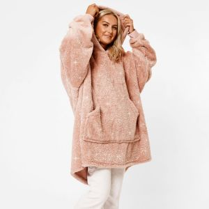 Sienna Teddy Fleece Glitter Hoodie Blanket - Blush Pink