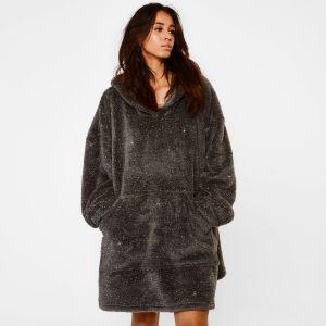 Sienna Teddy Fleece Glitter Hoodie Blanket - Charcoal Grey