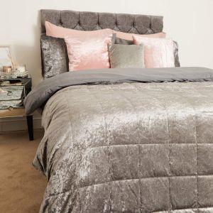 Sienna Crushed Velvet Weighted Blanket - Silver Grey