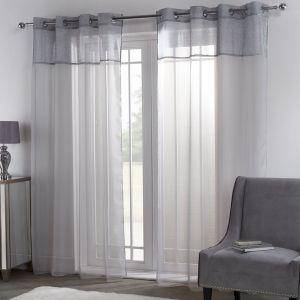 """Sienna Amelia Lurex Voile Net Curtains Eyelet, Silver Grey - 55"""" x 87"""""""