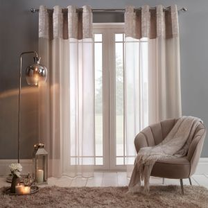"Sienna Crushed Velvet Voile Curtains, Natural - 55"" x 87"""