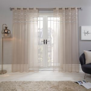 "Sienna Latina Diamante Voile Net Curtains Eyelet, Natural - 55"" x 87"""