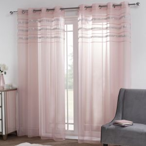 "Sienna Latina Diamante Voile Net Curtains Eyelet, Blush Pink - 55"" x 87"""