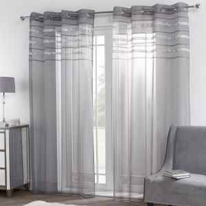 "Sienna Latina Diamante Voile Net Curtains Eyelet, Charcoal Grey - 55"" x 87"""