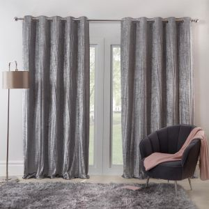 "Sienna Home Valencia Crinkle Crushed Velvet Lined Eyelet Curtains, Silver Grey - 90"" x 90"""
