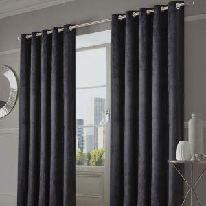 Sienna Home Capri Velvet Eyelet Curtains - Charcoal