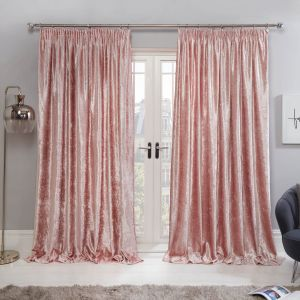 Sienna Crushed Velvet Pencil Pleat Curtains - Blush Pink