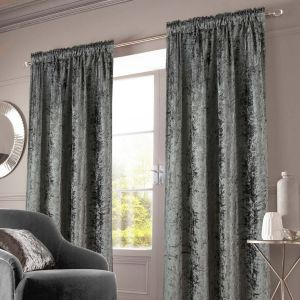 Sienna Crushed Velvet Pencil Pleat Curtains - Charcoal