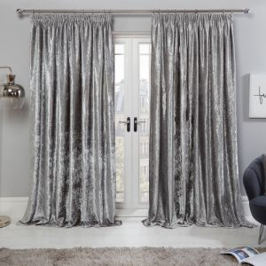 Sienna Crushed Velvet Pencil Pleat Curtains - Silver