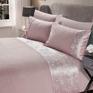 Sienna Crushed Velvet Glitter Panel Duvet Cover Set - Blush
