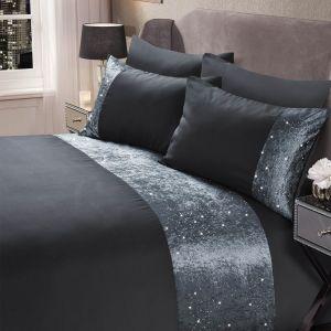 Sienna Crushed Velvet Glitter Panel Duvet Cover Set - Charcoal