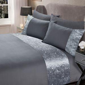 Sienna Crushed Velvet Glitter Panel Duvet Cover Set - Silver